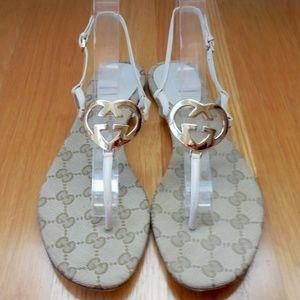 GUCCI~GG Monogram Interlocking Heart Sandals~7/7.5